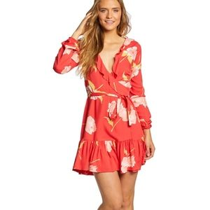 Billabong Red Coral Floral Wrap Dress Size Small